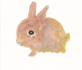 Cute Little Bunny Watercolor Art Print Painting
